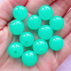 Bubblegum Acrylic Beads | Chunky Jelly Candy Bead | Plastic Beads (14mm / Teal Blue Green / 12pcs)