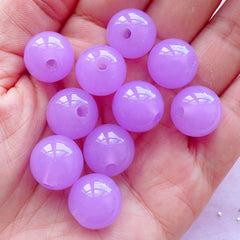 14mm Acrylic Round Beads | Chunky Bubblegum Bead | Jelly Candy Beads (14mm / Translucent Purple / 12pcs)