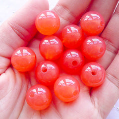 Fairy Kei Acrylic Gumball Beads | Chunky Round Bead in Jelly Candy Color (14mm / Translucent Coral Pink / 12pcs)