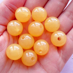 Acrylic Bubblegum Beads | Chunky Ball Bead in Kawaii Jelly Candy Color (14mm / Translucent Orange / 12pcs)