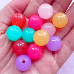 Assorted Acrylic Chunky Beads in 14mm | Bubblegum Bead in Pastel Jelly Candy Color (Colorful Mix / 12pcs)