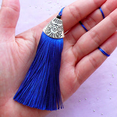 Royal Blue Thread Tassel Charm with Silver Cap | Cotton Fringe | Boho Jewelry & Accessory DIY (1 piece / 20mm x 80mm)