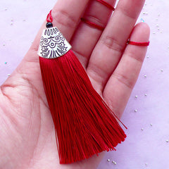 Fringe Tassel Charm with Silver Cap | Cotton Thread Tassel | Bohemian Jewellery & Accessory DIY (Wine Red / 1 piece / 20mm x 80mm)