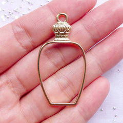 Perfume Bottle Outline Charm | Hollow Bottle Pendant | Resin Craft Supply (Gold / 1 piece / 23mm x 42mm)