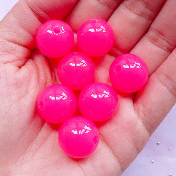 DEFECT Acrylic Bubblegum Ball Beads | Chunky Plastic Bead | Jelly Candy Beads (16mm / Translucent Dark Pink / 8pcs)