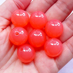 DEFECT Acrylic Jelly Ball Beads | Chunky Gumball Candy Bead | Plastic Round Beads (16mm / Translucent Coral Pink / 8pcs)