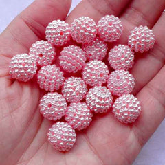 12mm Chunky Berry Beads | Acrylic Bubblegum Round Beads | Beaded Ball Bead Supplies (Pastel Pink / 12pcs)