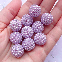 15mm Chunky Raspberry Beads | Acrylic Round Berry Beads | Beaded Bubblegum Bead Supply (Pastel Purple / 8pcs)
