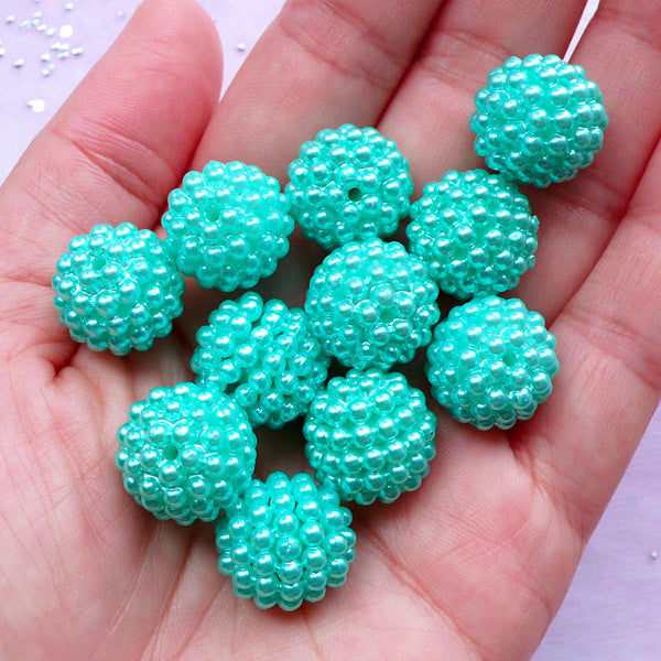 Beaded Ball Beads | 15mm Chunky Round Acrylic Beads | Bubblegum Berry Bead Supply (Pastel Teal Blue Green / 8pcs)