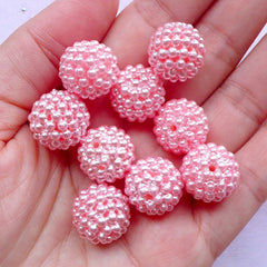 Berry Beads | 15mm Round Acrylic Beaded Beads | Chunky Gumball Bead Supply (Pastel Pink / 8pcs)
