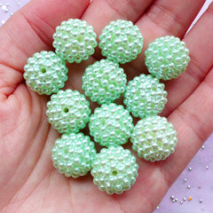 Raspberry Beads in 15mm | Chunky Beaded Bead | Acrylic Berry Ball Beads | Kawaii Gumball Bead Supplies (Pastel Light Green / 8pcs)