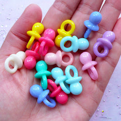3D Pacifier Acrylic Charms | Baby Shower Decoration | Kawaii Pastel Color Pendant (16pcs / 11mm x 21mm / Assorted Color)