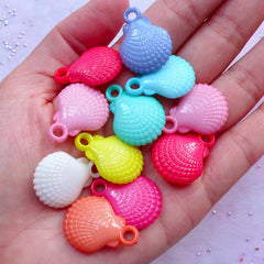Pastel Seashell Charms | Acrylic Sea Shell Pendant | Kawaii Chunky Jewellery DIY (10pcs / 19mm x 25mm / Assorted Color / 2 Sided)