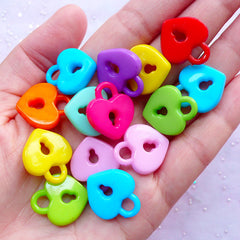 Kawaii Acrylic Charms | Heart Key Lock Pendant | Decora Kei Chunky Jewelry Making (15pcs / 18mm x 21mm / Assorted Color)