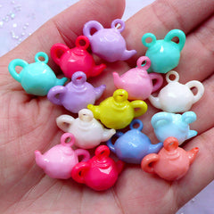 Miniature Teapot Charms | 3D Dollhouse Tea Pot Acrylic Pendant | Cute Mini Food Jewelry Making (15pcs / 20mm x 15mm / Assorted Color)