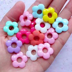 Daisy Flower Acrylic Beads | Pastel Color Floral Beads | Kawaii Fairy Kei Bracelet DIY (15pcs / 20mm x 19mm / Assorted Color)