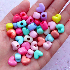 Heart Acrylic Beads | Kawaii Pastel Color Bead Supplies | Fairy Kei Bracelet & Necklace Making (25pcs / 12mm x 10mm / Assorted Color)