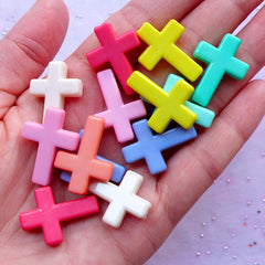 Acrylic Cross Beads | Kawaii Bead Supplies | Cute Pastel Kei Bracelet & Necklace DIY (15pcs / 18mm x 24mm / Assorted Color)