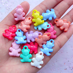 Kawaii Candy Bear Charms | Acrylic Animal Bear Pendant | Cute Pastel Jewelry Making (18pcs / 15mm x 21mm / Assorted Color / 2 Sided)