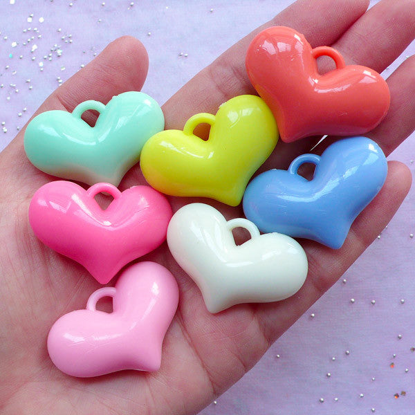 DEFECT Large Acrylic Heart Charms | Big Chunky Heart Pendant | Pastel Jewellery DIY (3pcs / 37mm x 25mm / Assorted Color)