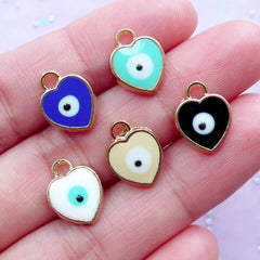 Evil Eye Charms in Heart Shape | Nazar Stink Eye Enamel Pendant | To Mati Spiritual Turkish Jewellery Findings (Gold / 3pcs by Random / 10mm x 13mm)