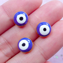 Nazar Evil Eye Beads | Blur Stink Eye Enamel Bead | Lucky Judaism Yoga Jewelry Making (Gold / 3pcs / 9mm)