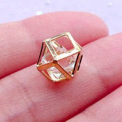 Geometric Cage with Floating Crystal Bead | Stringing Supplies | Everyday Necklace Making (Gold / 1 piece / 9mm x 12mm)