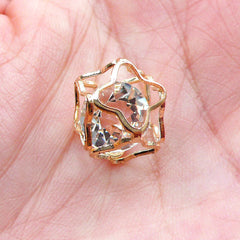 Crystal Cage Bead | Floating Diamond in Hollow Cube Pendant | Bead Supplies (Gold / 1 piece / 11mm x 15mm)
