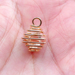 Crystal Cage Charm | Gemstone Wrapped in Spiral Wire Cage | Cage Pendant | Necklace Findings (Gold / 1 piece / 12mm x 15mm)