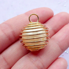 Spiral Wire Cage Pendant with Floating Pearl | Everyday Jewellery Making | Charm Supplies (Gold / 1 piece / 20mm x 23mm)