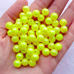 Aurora Borealis Bead Supplies | Acrylic Pastel Beads | 8mm Round Plastic Beads | Kawaii Chunky Jewelry Making (AB Yellow / 50pcs)