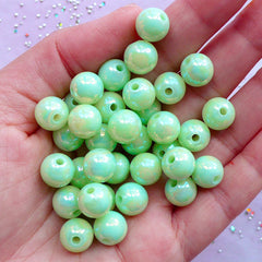 Fairy Kei Bracelet & Necklace Making | 10mm Acrylic Bubblegum Beads | Kawaii Jewelry DIY (AB Pastel Green / 25pcs)