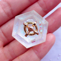 DEFECT 3D Diamond Pendant with Holographic Confetti & Glitter | Glittery Geometry Charm with Crown | Kawaii Lolita Fairy Kei Princess Jewelry Making (Gold & AB Clear / 1 piece / 29mm x 37mm)