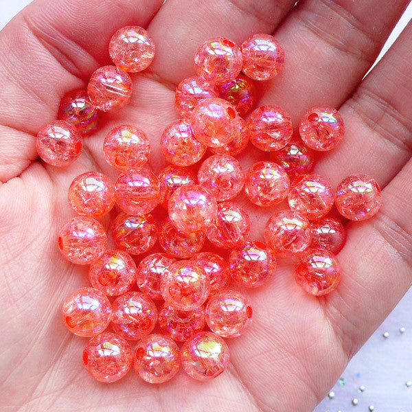 8mm Round Crackle Beads | Acrylic Cracked Ball Beads | Aurora Borealis Chunky Bubblegum Jewelry DIY (AB Clear Coral Pink / 50pcs)