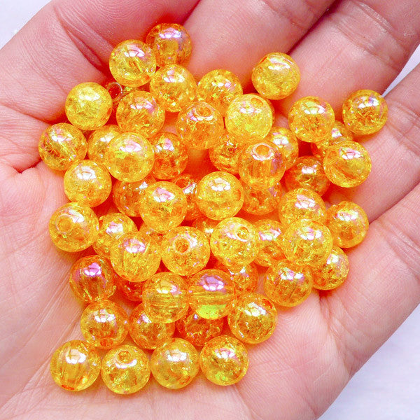 Acrylic Crackle Beads in 8mm | Round Cracked Beads | Holographic Chunky Gumball Jewellery DIY (AB Clear Orange / 50pcs)