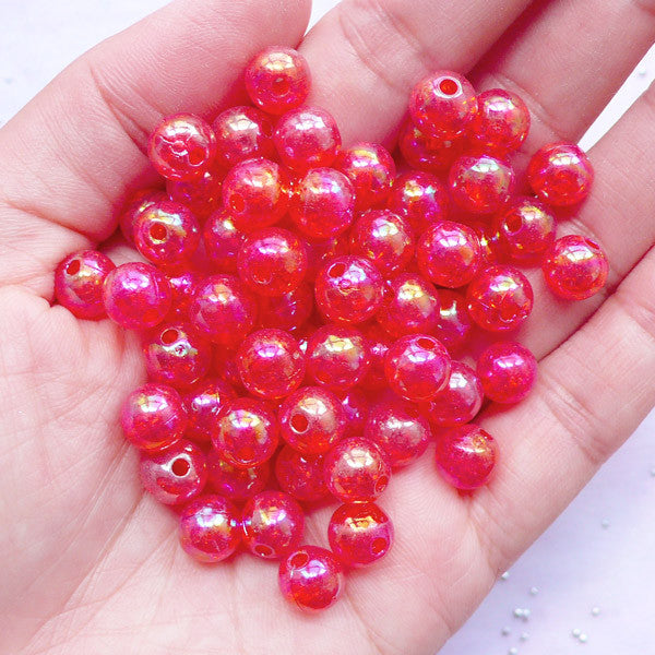 Acrylic Cracked Beads in 8mm | Crackle Ball Beads | Iridescent Chunky Beads | Kawaii Jewellery Making (AB Clear Red / 50pcs)