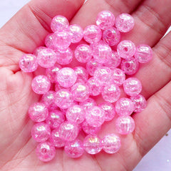 Crackle Acrylic Beads in 8mm | Iridescent Cracked Beads | Plastic Chunky Beads | Kawaii Fairy Kei Jewelry Making (AB Clear Pink / 50pcs)