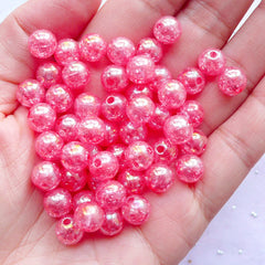Holographic Cracked Beads | 8mm Kawaii Acrylic Beads | Chunky Crackle Beads | Bubblegum Bead Supplies (AB Clear Dark Pink / 50pcs)