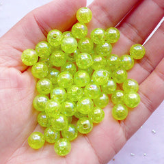 Cracked Beads in AB Color | 8mm Acrylic Bubblegum Ball Beads | Sparkle Crackle Beads | Gumball Bead Supplies (AB Clear Lime Green / 50pcs)