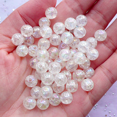 Crackle Beads in AB Color | 8mm Acrylic Gumball Beads | Sparkle Cracked Beads | Kawaii Bead Supplies (AB Clear White / 50pcs)