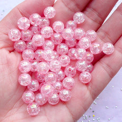 AB Crackle Beads | Pastel Kei Cracked Beads | Acrylic Ball Beads in 8mm | Kawaii Cute Bead Supply (AB Clear Light Pink / 50pcs)