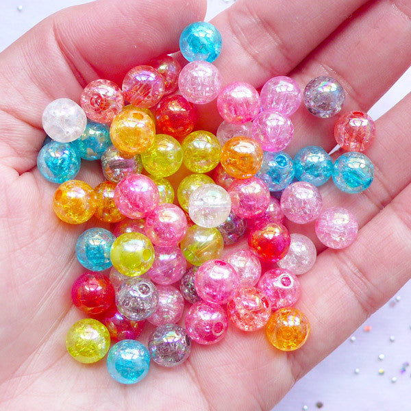 AB Cracked Bead Assortment | Assorted Transparent Crackle Beads in 8mm | Acrylic Round Beads | Cute Bead Supplies (Colorful Mix / 50pcs)
