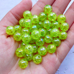 Crackle Beads in 10mm | Acrylic Cracked Beads | AB Bubblegum Beads | Kawaii Bead Supply (AB Clear Lime Green / 25pcs)