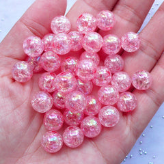 CLEARANCE 10mm Cracked Beads | Acrylic Crackle Beads | AB Gumball Beads | Kawaii Jewellery Making (AB Clear Light Pink / 25pcs)