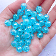 CLEARANCE Cracked Bubblegum Beads | 10mm Acrylic Crackle Beads in AB Color | Kawaii Jewellery DIY (AB Clear Blue / 25pcs)