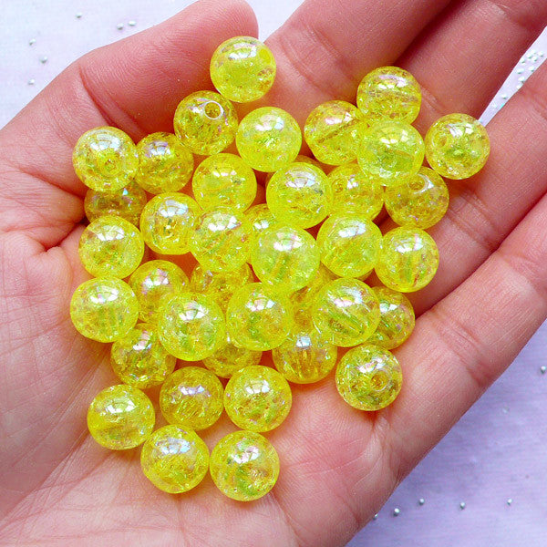 Cracked Gumball Beads | Holographic Crackle Beads | 10mm Chunky Acrylic Beads (AB Clear Yellow / 25pcs)