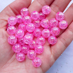 Chunky Cracked Beads | Iridescent Crackle Beads | 10mm Acrylic Ball Beads (AB Clear Pink / 25pcs)