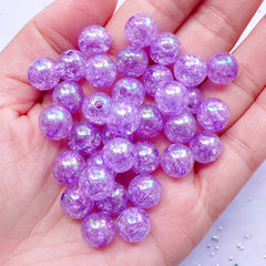 CLEARANCE Chunky Crackle Beads | Aurora Borealis Cracked Beads | 10mm Round Acrylic Beads (AB Clear Purple / 25pcs)