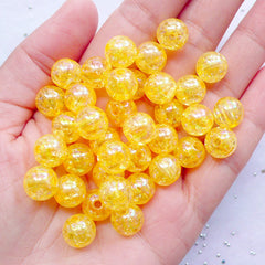 CLEARANCE Chunky Acrylic Beads in 10mm | Round Crackle Beads | Kawaii Cracked Beads | Bubblegum Jewelry Making (AB Clear Orange / 25pcs)