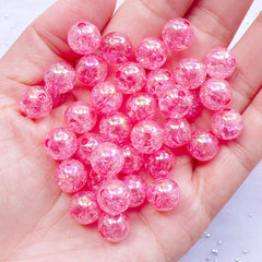 Kawaii Acrylic Beads in 10mm | Transparent Crackle Beads | Round Cracked Beads | Gumball Jewelry DIY (AB Clear Dark Pink / 25pcs)